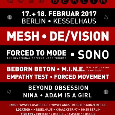 SYNTH-POP GOES BERLIN: Mesh, Adam is a Girl, Beborn Beton uvm am 17. und 18. Februar 2017 live in Berlin