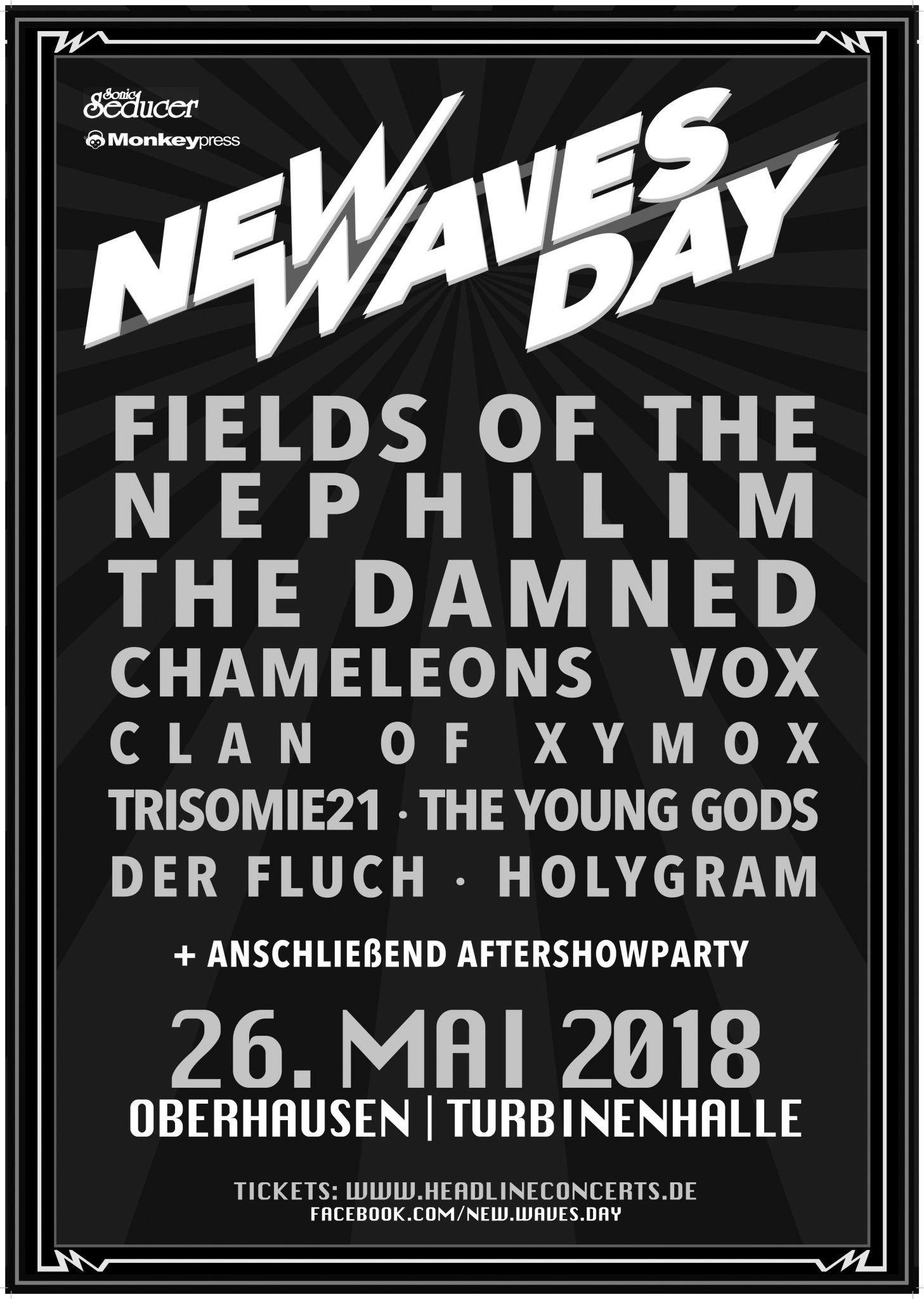 NEW WAVES DAY: Fields of the Nephilim u.a. am 26. Mai in der Turbinenhalle Oberhausen